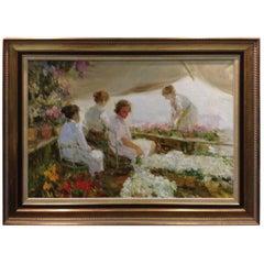"""Giner Bueno """"Las Floristas"""" Oil Painting"""