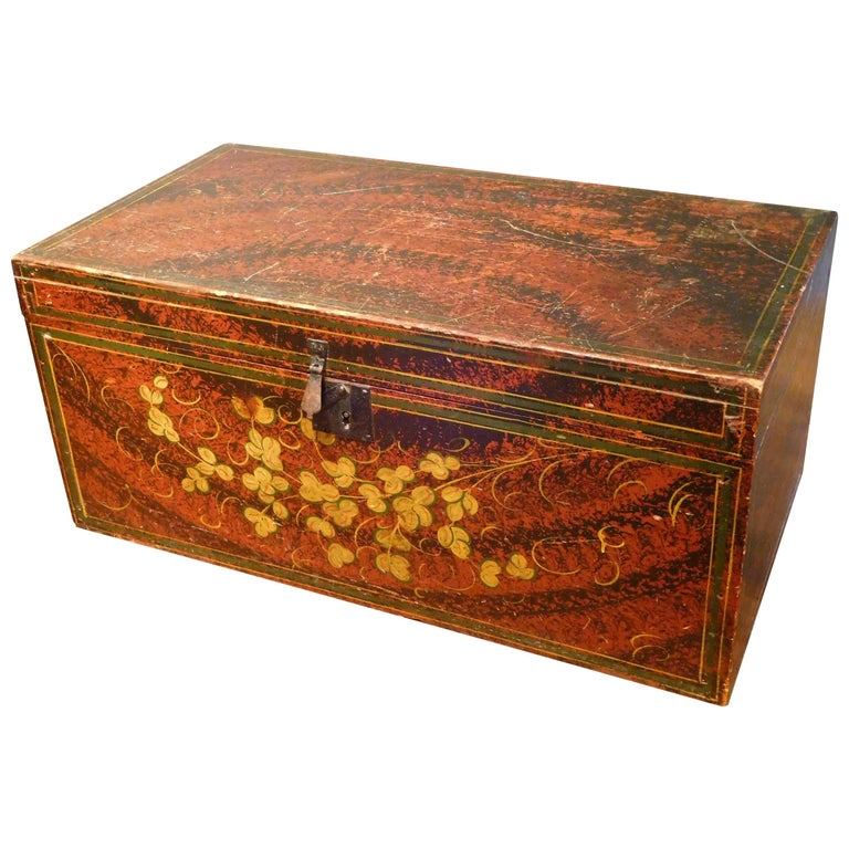 Decorated Storage or Document Box, New England Folk Art, Mid-19th Century