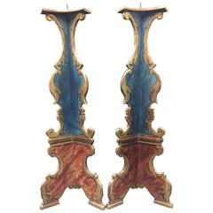 Pair of Italian Baroque Style Painted Torcheres