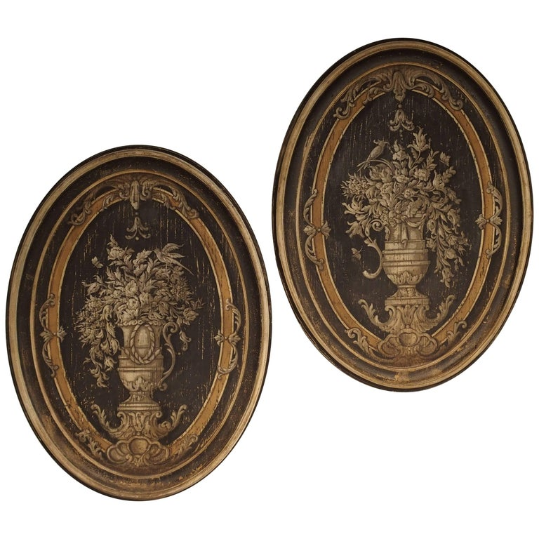 Pair of Large Painted Wooden Oval Panels from Florence, Italy