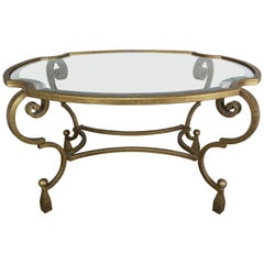 French Gilt Metal Oval Tea Table
