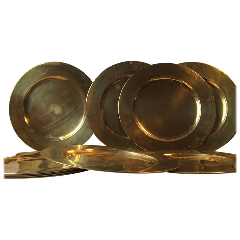 Vintage Danish Brass Plates, Dishes by Stelton, 1970s, Set of Ten
