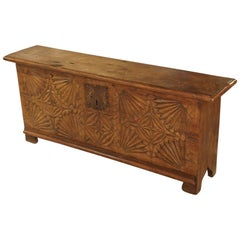Oak Trunk from France with Detailed Hand-Carved Front Panel