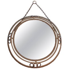 French 1950s Painted Round Metal Frame and Mirror with Hanging Chain