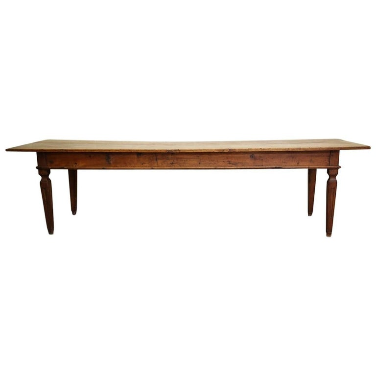 17th-18th Century Italian Long Rustic Dining Table with Three Drawers