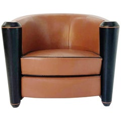 Adam Tihany Leather Club Chair for Pace Mariani, Italy, circa 1990