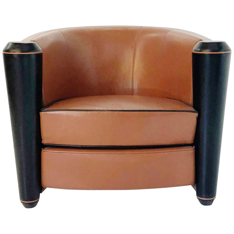 Adam Tihany Leather Club Chair For Pace Mariani Italy