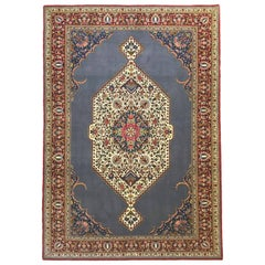 Persian Hand-Knotted Floral Royal Blue Medallion 1970s Qum Rug
