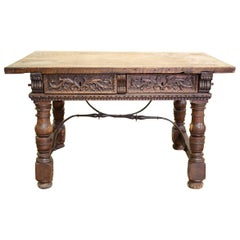18th Century Continental Rustic Desk Possibly Italian with Iron Supports