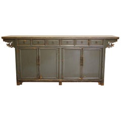 Chinese Sideboard, Painted Green Lacquer, Mahogany Drawers, 19th Century