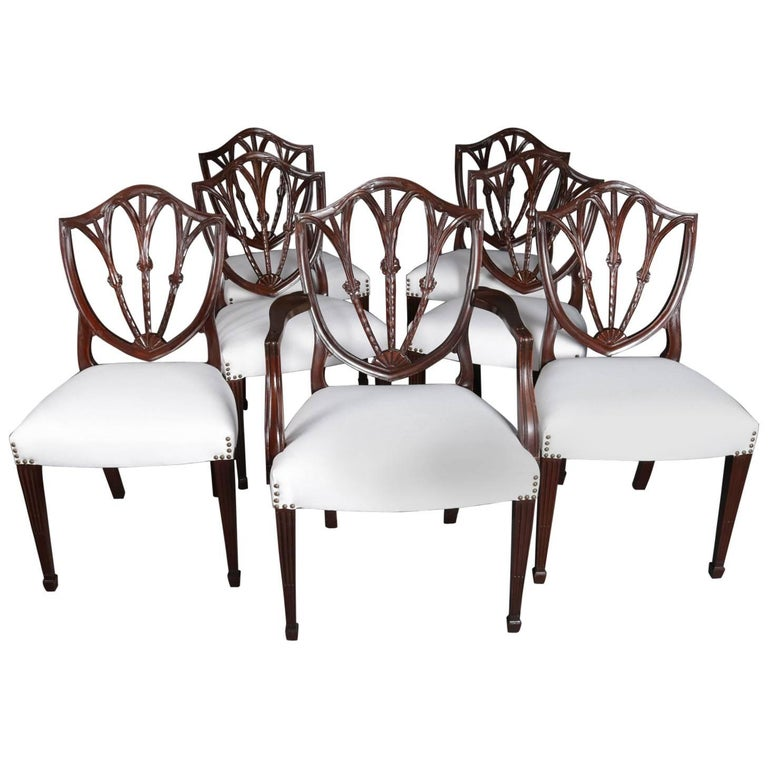 Seven Hepplewhite Style Shield Back Carved Gany Wheat Form Dining Chairs For