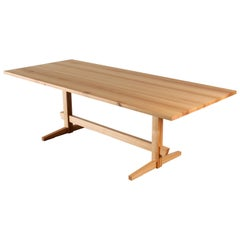 White Oak Low-Trestle Wood Dining Table by New York Heartwoods