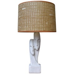 Mid-Century Italian Marble Two Figure Lamp with Fibreglass Shade