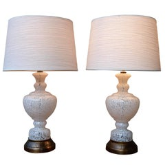 Pair of Mid-Century Italian Mottled White & Clear Glass Lamps w/ Modern Shades