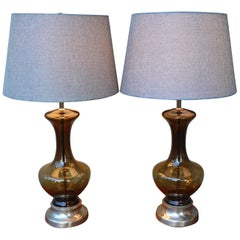 Pair of Mid-Century Scandinavian Smoked Glass Lamps with Modern Shades