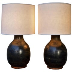 Monumental Pair of Mid-Century Ceramic Lamps in Black with Gold & Green