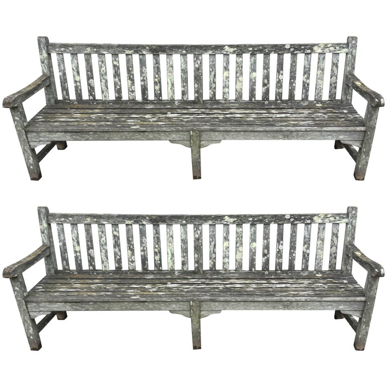 Pair of Very Long Heavily Lichened English Teak Garden Benches