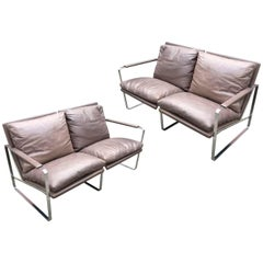 Two-Seat Leather Sofa by Preben Fabricius & Jørgen Kastholm, Walter Knoll, Pair
