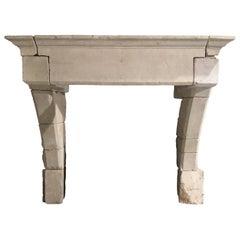 Louis 13 Limestone Fireplace, 17th Century