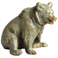 Russian Gilded Bronze Bear Inkwell, circa 1880