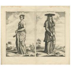 Antique Print of Balinese Slave Women by C. de Bruyn, 1711
