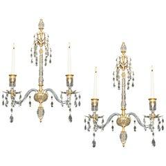 Fine Pair of Ormolu Mounted Cut-Glass Wall-Lights in Adam Style