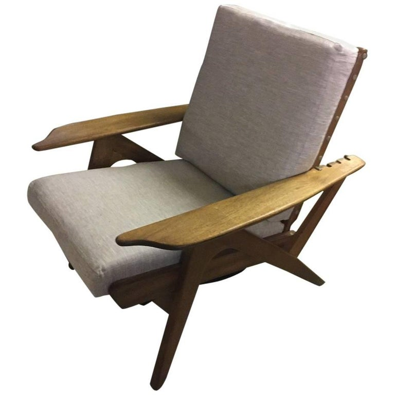 Italian Adjustable Lounge Chair in the Manner of Carlo Mollino, New Cushions For Sale