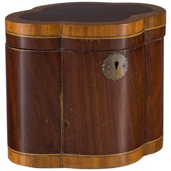 Grand Sized 19th Century Mahogany and Satinwood Inlaid Quatrefoil Tea Caddy