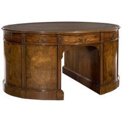 Edwardian 'Sheraton Style' Mahogany Breakfront Oval Shaped Pedestal Desk