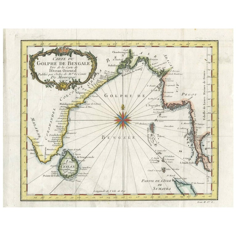 Antique Map of the Gulf of Bengal by J.N. Bellin, circa 1760 For Sale