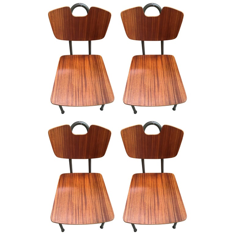 1951 Pierre Guariche, Prefacto Set of Four Chairs, Airborne Edition