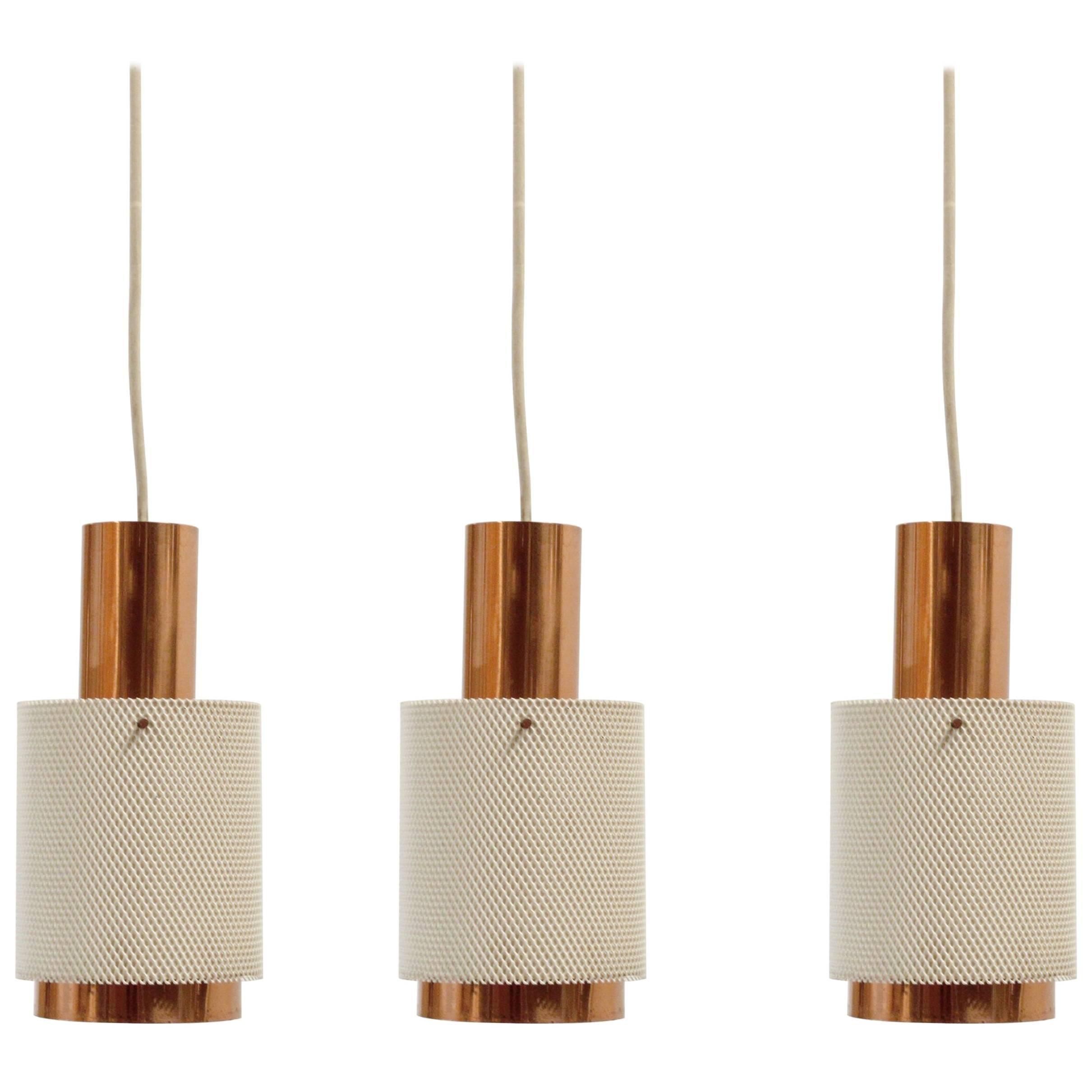 Set of Three Scandinavian Pendant Lights, 1960s