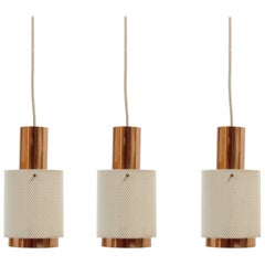 Set of Three Scandinavian Pendant Lights, 1960s