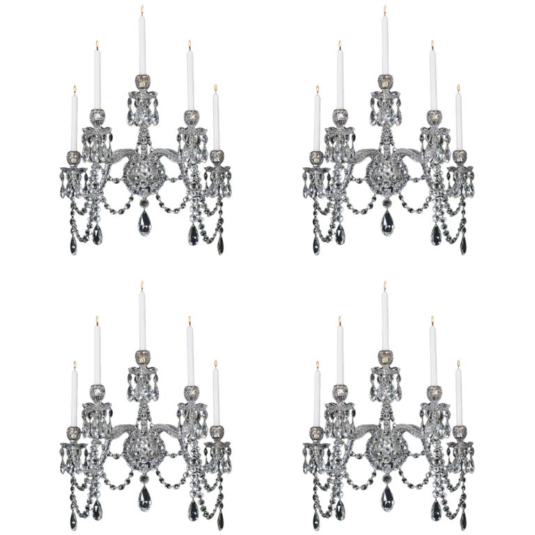 Highly Important Set of Four Cut-Glass Wall Lights by F&C Osler of Birmingham