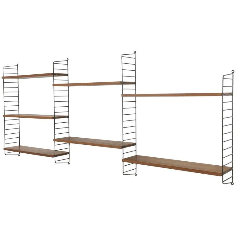 Vintage Teak String Wall Unit Nisse Strinning String Design Ab, Sweden, 1960s