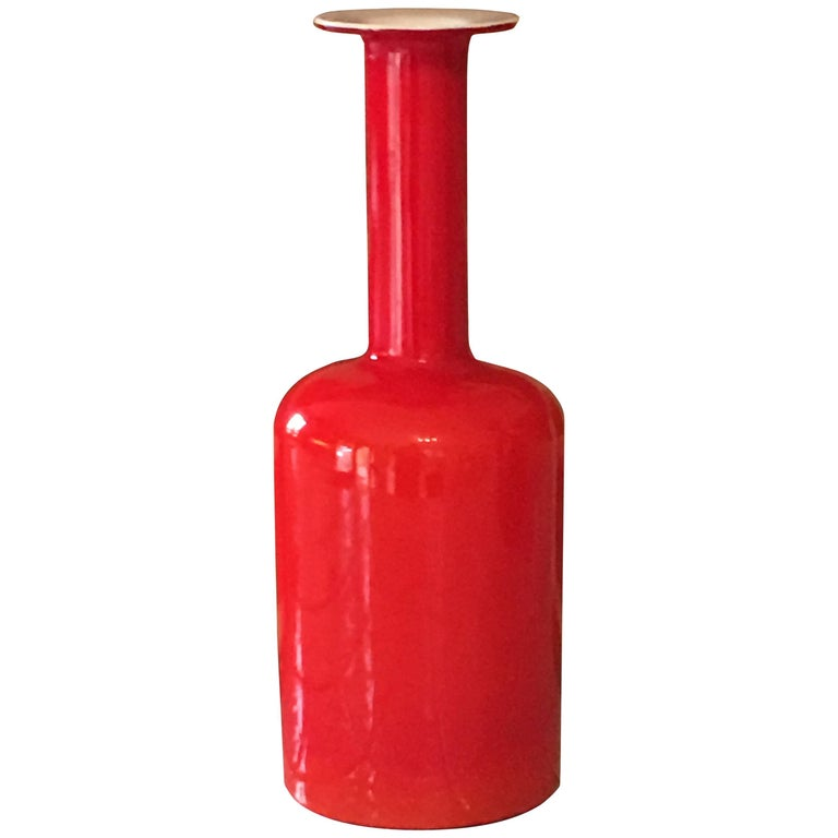 Cased Glass, Red over White, Gulvase by Otto Brauer for Holmegaard For Sale
