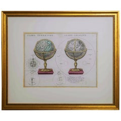 Antique Engraving of Terrestrial and Celestial Globes Framed