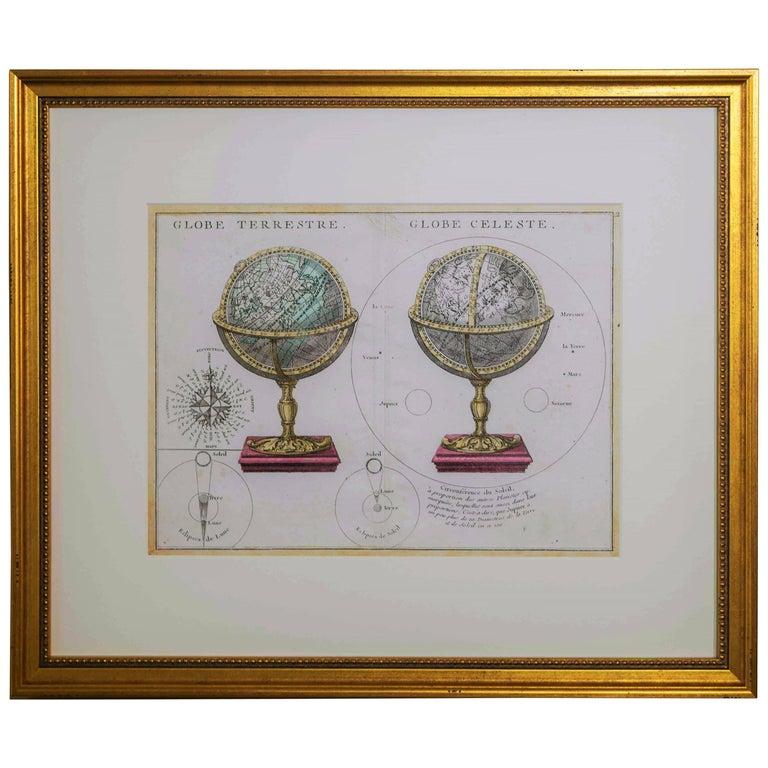 Antique Engraving of Terrestrial and Celestial Globes Framed For Sale