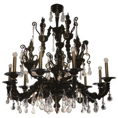 Great Chandelier Barovier & Toso Taif Black Color