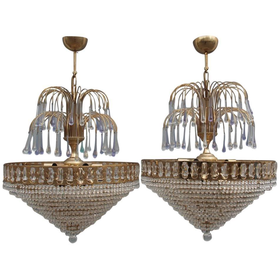 Pair of Chandelier Crystal and Gold Metal-Plated, 1970s
