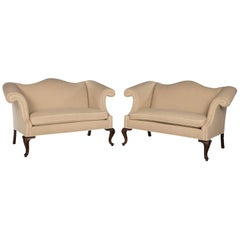 Pair of Early 20th Century Camelback Sofas of Small Proportions