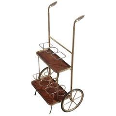 Trolley Bar Cart Handles Golf Club Mid-Century Modern Italian Design