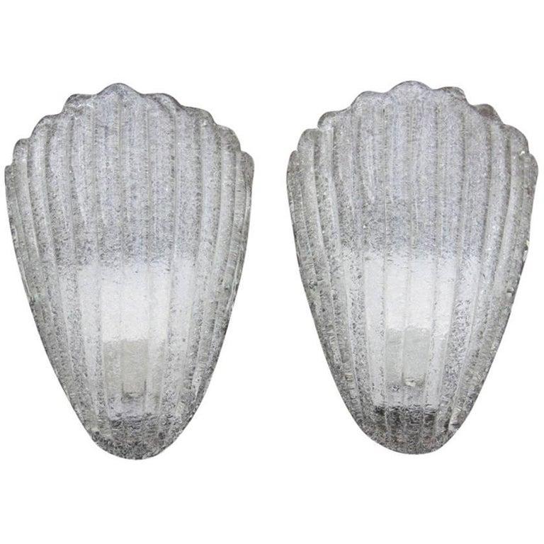 Pair of Modern Sconces Murano Art Glass Shell