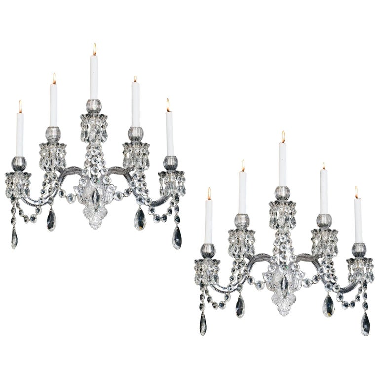 Important Pair of Five-Light Cut-Glass Wall-Light by F&C Osler