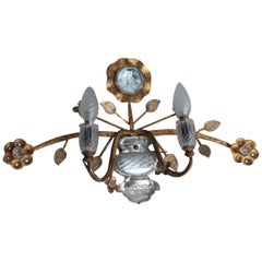 Big Sconce Maison Jansen Attributed Crystal and Metal Gold-Plated