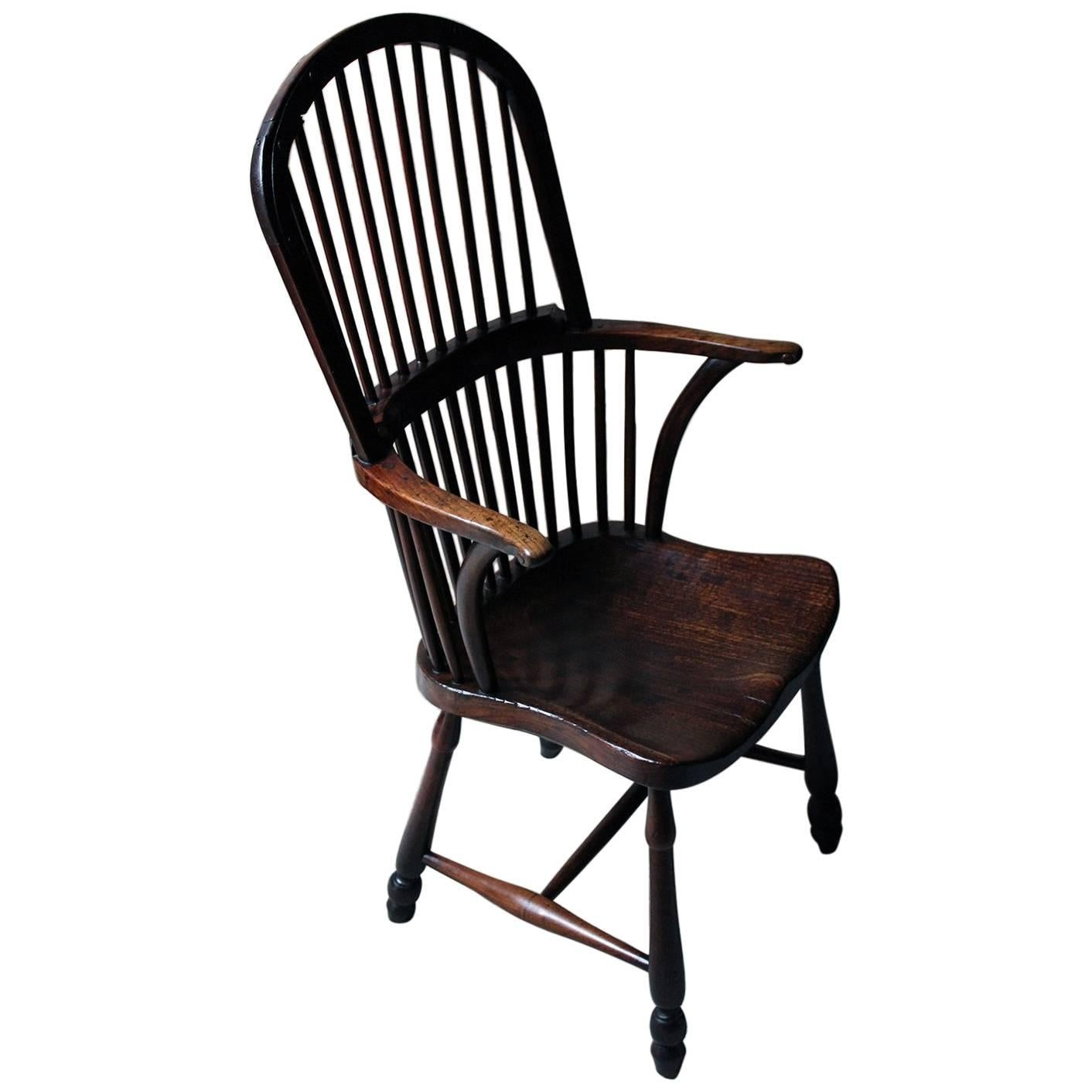 Rare And Exceptional George III Hoop Back Walnut Windsor Armchair, Circa  1790