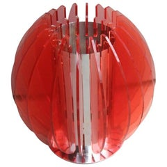 Table Lamp Red Perspex Design 1970s Pop Art Italian design