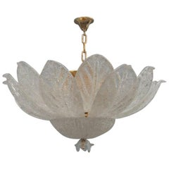 Round Murano Glass Chandelier 1970s Italian Design Curved Leaves