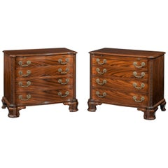 Pair of Early 20th Century Serpentine Mahogany Chests