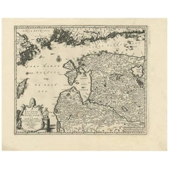 Antique Map of Livonia Baltic States by P. Van Der Aa, circa 1729